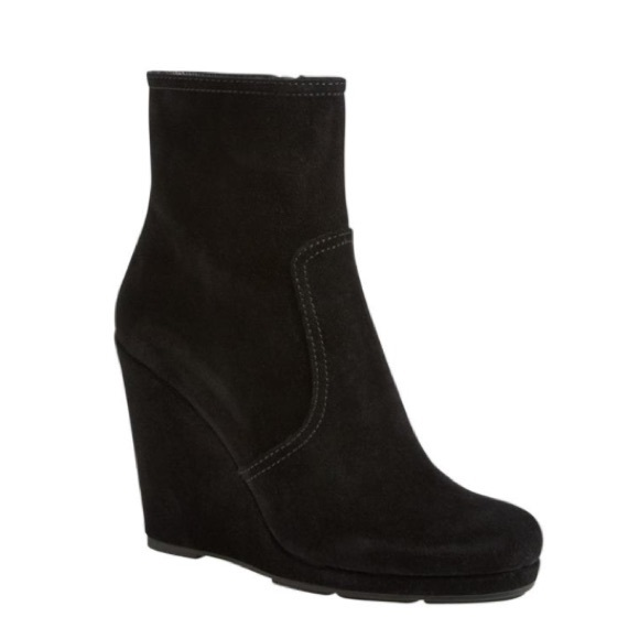 cae51a966f0 Prada suede wedge ankle boots